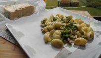 Pasta con piselli, pancetta e taleggio