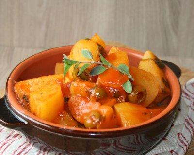 Contorno di patate e olive, ideale per accompagnare le grigliate