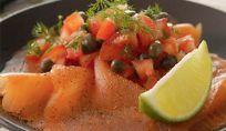 Carpaccio di rombo e salmone con ortaggi