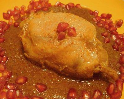 Sovracosce di pollo con crema di funghi e melagrana, un piatto per un Natale light