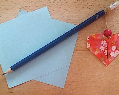 Matita con cuore in origami