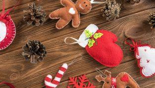 Palline di Natale in feltro fai da te