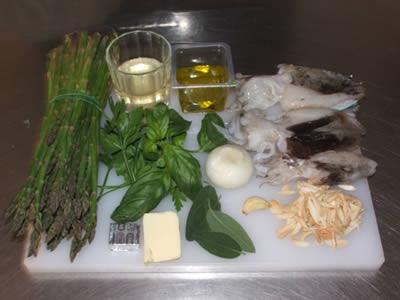 Ingredienti per seppie e asparagi