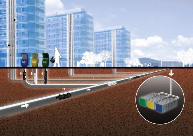 Sistema gestione rifiuti sotterraneo