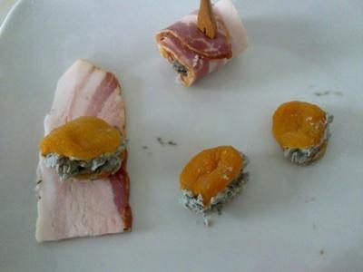 Bocconcini di bacon albicocca e Roquefort