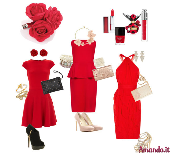 Vestito rosso accessori