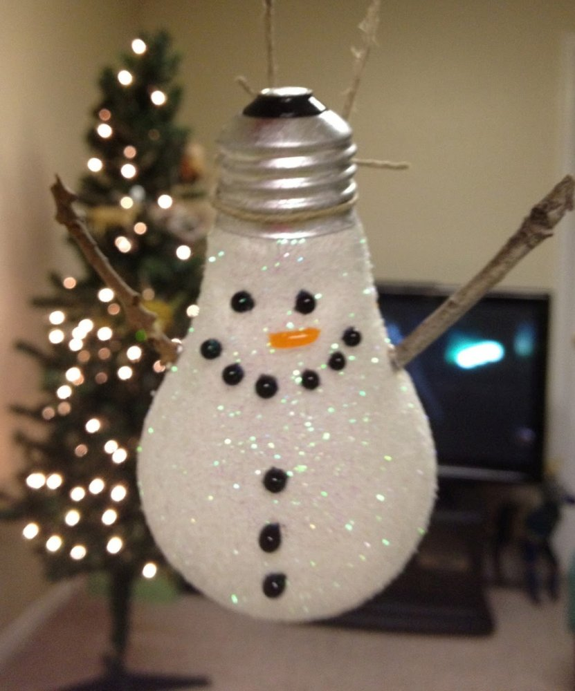 Снеговик из лампочки своими руками фото