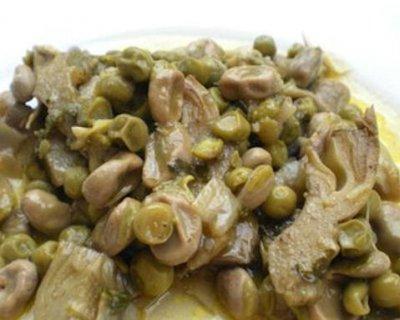 Contorno di fave, piselli e carciofi alla siciliana