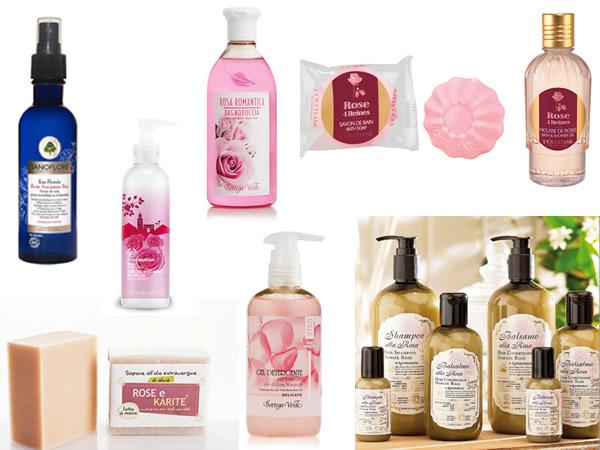 Prodotti cosmetici alla rosa
