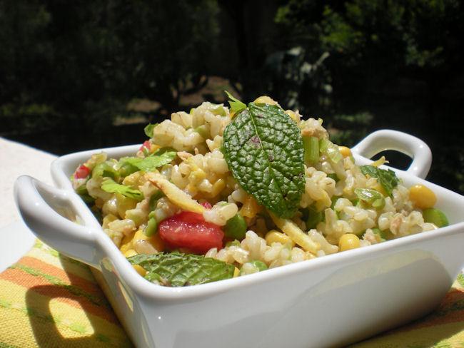 Insalata di riso integrale con verdure e tonno rosso