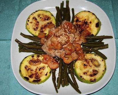 Tonno e gamberetti con verdure