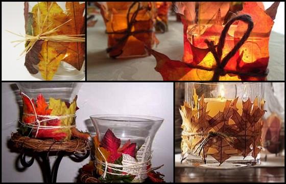 Portacandele autunnale con foglie secche fatto in casa - Portacandele natalizi fai da te ...