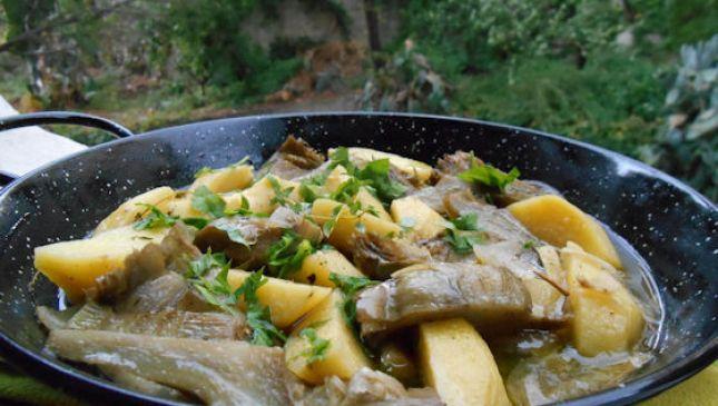 Carciofi e Patate, verdure invernali in padella