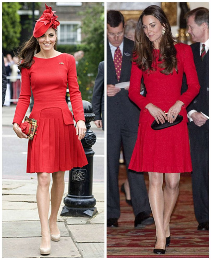 Vestito rosso e scarpe nere