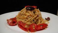 Spaghetti al limone con pesto alle olive